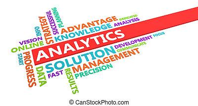 analytics, woord, wolk