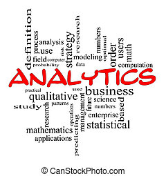 Analytics Word Cloud Concept in red scribbles with great terms such as data, strategy, modeling, research and more.