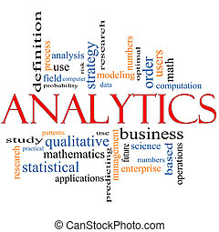 Analytics Word Cloud Concept with great terms such as users,...