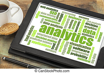 analytics word cloud on digital tablet