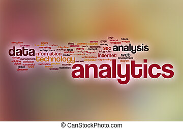 Analytics word cloud with abstract background