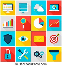 analytics, zakelijk, kleurrijke, iconen