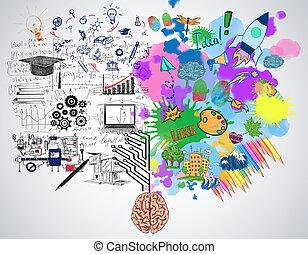 analytisch, denken, concept, creatief