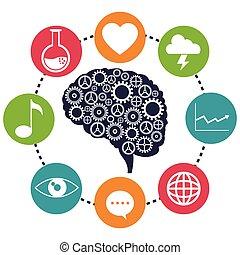 analytiskt, hjärna, social, drev, media