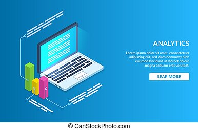 Analyze data using a computer or laptop. Graph data description. Modern vector illustration isometric style on blue background.