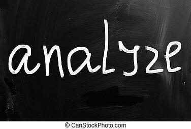 """Analyze"" handwritten with white chalk on a blackboard"