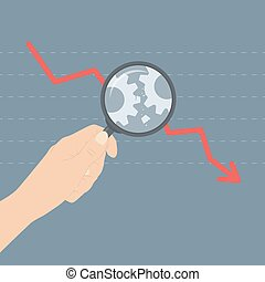 Flat design modern vector illustration concept of analyzing business crisis problem, broken gears with arrow down symbolizing a market crash or economic depression. Isolated on stylish colored background
