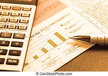 analyzing., financieel, concept: