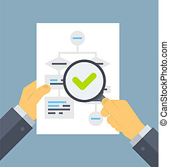 Flat design style modern vector illustration concept of businessman hands holding magnifier and analyzing flowchart with data information on a white paper. Isolated on stylish color background