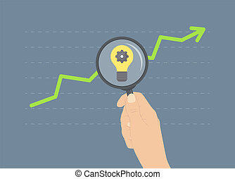Analyzing growth flat illustration concept - Flat design...