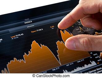analyzing, tabel, markt, liggen