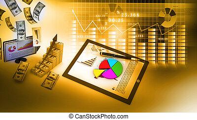 analyzing, zakelijk, diagrammen