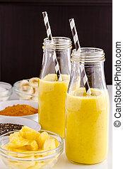 ananas, banane, noix coco, curcuma, et, chia, graine, smoothies