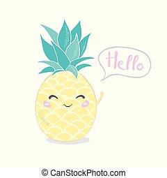 ananas, carino, disegno, carattere, tuo