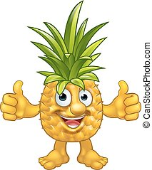 ananas, fruit, caractère, dessin animé, mascotte