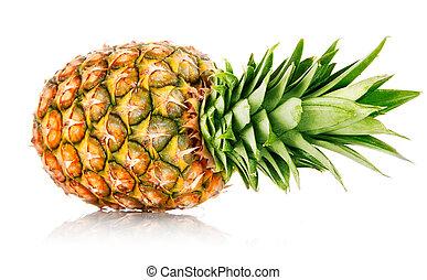 ananas, fruta, hojas verdes, maduro