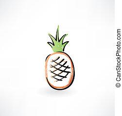 ananas, grunge, icona