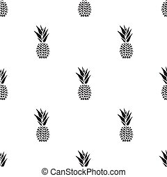ananas, ikona, black., singe, ovoce, icon.