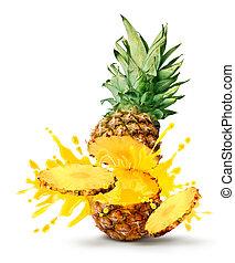 ananas, jus, éclater