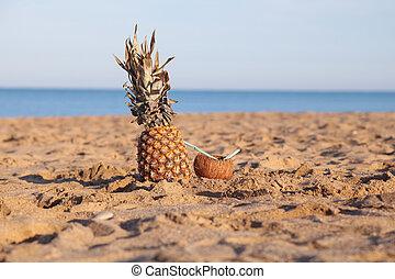 ananas, kokosnuss, cocktail, sand, meeresstrand