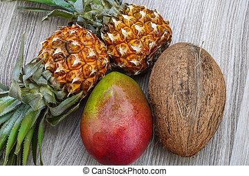 ananas, mango, och, kokosnöt