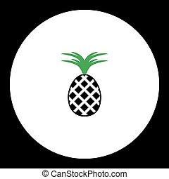 ananas, ovoce, jednoduchý, černoši i kdy, nezkušený, ikona, eps10