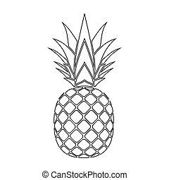 ananas, silhouette, icona