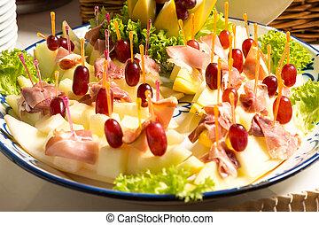 ananas, vassoio, prosciutto, buffet, ristorante