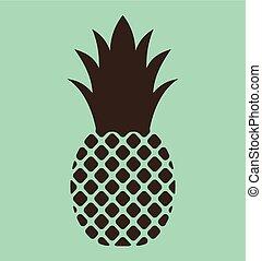 ananas, vecteur, icône