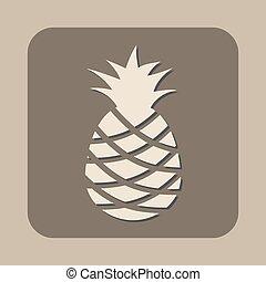 ananas, vettore, icona