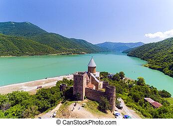 Ananuri Castle with Church on the bank of lake, Georgia.