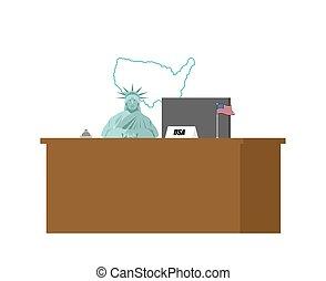 anaquel., estatua, estados unidos de américa, visitante, aceptación, libertad, invitados., america., vector, ilustración, recepción, bienvenidas