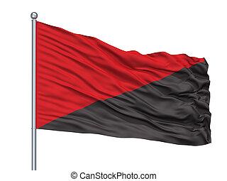 anar, aislado, bandera, asta, comunista, blanco