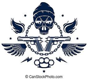 anarchia, revolutionary., differente, caos, elementi, partigiano, o, rivoluzione, vettore, cranio, cattivo, tumulto, logotipo, tatuaggio, ribelle, aggressivo, disegno, armi, emblema