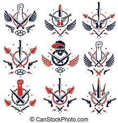 anarchia, revolutionary., elementi, pallottole, vettore, forte, emblema, disegno, logotipo, o, pugno, tatuaggio, ribelle, differente, caos, aggressivo, armi, stretto, cranio, pistole