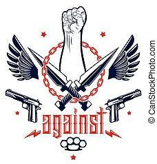 anarchia, stretto, elementi, logotipo, forte, partigiano, disegno, ribelle, rivoluzione, tatuaggio, tumulto, aggressivo, armi, pugno, emblema, differente, o, revolutionary., vettore, caos