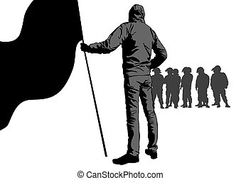 Anarchist and police - Anarchists with large flags and ...