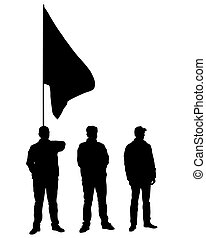 Anarchist flags one - People of with large flags on white ...