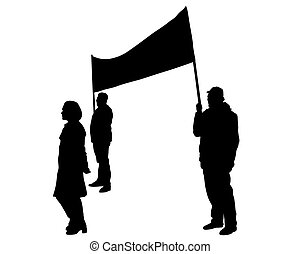 Anarchist flags two - People of with large flags on white ...