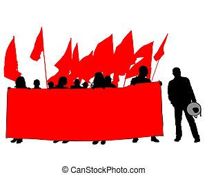 Anarchist strike one - People of with large flags on white ...