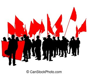Anarchist strike three - People of with large flags on white...