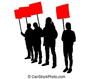 Anarchist strike two - People of with large flags on white ...