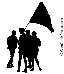 Anarchist whit flag five - People of with large flags on ...