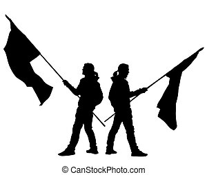 Anarchist whit flag four - People of with large flags on ...