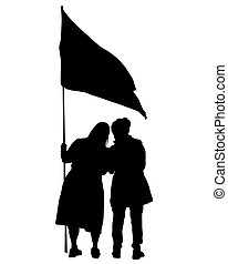 Anarchist whit flag one - People of with large flags on ...
