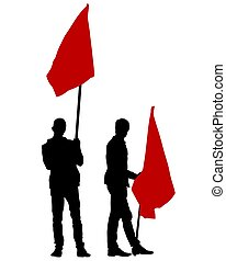 Anarchist whit flag three - People of with large flags on ...
