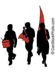 Anarchist whit flags - People of anarchia with large flags ...