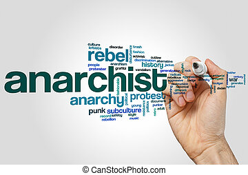 Anarchist word cloud concept on grey background