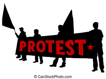 Anarchists whit flags - Vector drawing of anarchists with...
