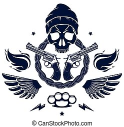 Anarchy and Chaos aggressive emblem or logo with wicked ...